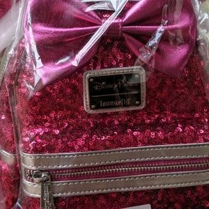 Loungefly Bags - Loungefly Disney Hot Pink Sequin Minnie Mouse Back